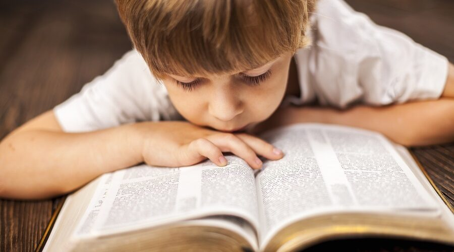 little boy studying the scriptures.