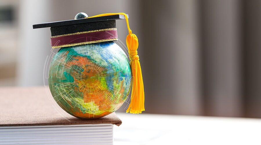 Education To Learn Study In World. Graduated Student Studying Ab
